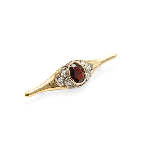 Antique Art Deco Gold Garnet & Diamond Set Bar Brooch (Code A322)