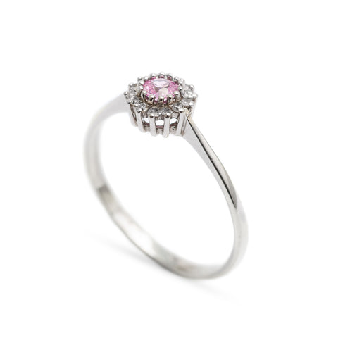 Pink Sapphire & Diamond Cluster 9ct White Gold Ring Hallmarked London (Code A335)