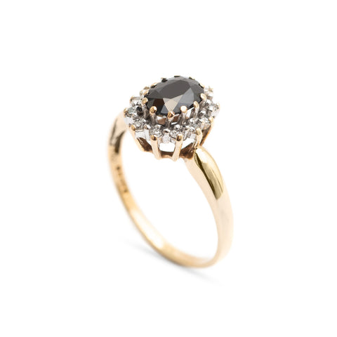 Vintage Black Sapphire & Diamond Halo Ring In 9ct Gold With London Hallmark (Code A338)