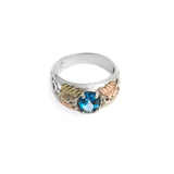 Vintage Silver & 12K Gold Ring Set With A Fine Blue Topaz Gemstone Size M1/2 (A350)