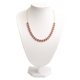 Vintage Ruby & White Topaz Halo Silver Set Riviere Necklace On Snake Chain (Code A358)