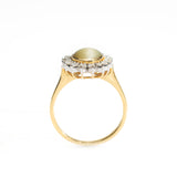 Vintage 18ct Gold Chrysoberyl Cats Eye & 0.75ct Diamond Dress Ring Size P1/2 (Code A397)