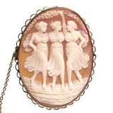 Antique Three Maidens Hand Carved Cameo Shell Brooch With 9ct Gold Mount (Code A401)