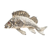Antique Silver Gilt Perch Fish Brooch Pin Early 20th Century With Red Gem Eye (Code A402)