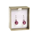 Pair Honora Cranberry Colour Cultured Pearl & Silver Earrings For Pierced Ears (Code A403)