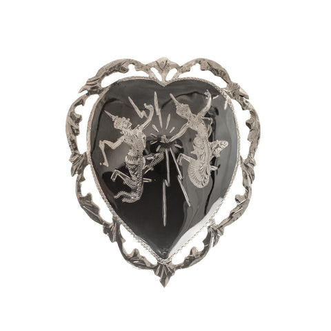Vintage Siamese (Thailand) Sterling Silver Niello Work Heart Shape Brooch  (Code A413)