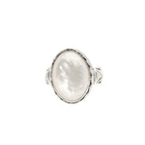 Vintage BA Suarti Silver Statement Ring With Mother Of Pearl Cabochon Size N (Code A414)
