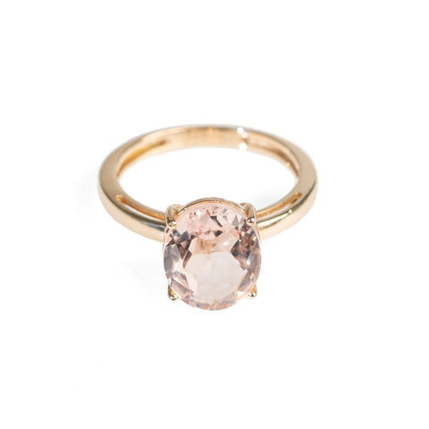 Ladies 9ct Gold Solitaire Ring With Large 2.75 Carat Morganite Gemstone - N 1/2  (Code A415)