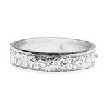 Antique Victorian Silver Hinged Bangle Bracelet Chased Floral Design Hallmarked 1885 (Code A420)