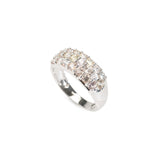 9ct Gold & Pastel Sapphire Pave Set Ring In Broad White Gold Band Size N  (Code A427)