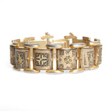 Vintage Mid Century Toledo Ware Gold & Silver Damascene Inlay Panel Bracelet (Code A434)