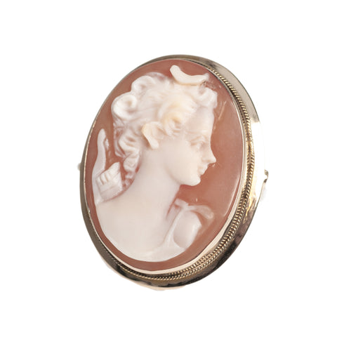 18ct Gold Cameo Set Ladies Ring Vintage Large Shell Portrait  (Code A441)