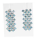 Pair Vintage 8.5ct Aquamarine Waterfall Earrings In Sterling Silver Pierced Ears(Code A443)