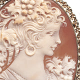 9ct Gold Mount Cameo Brooch Vintage Fine Quality Large Carved Shell Portrait  (Code A445)