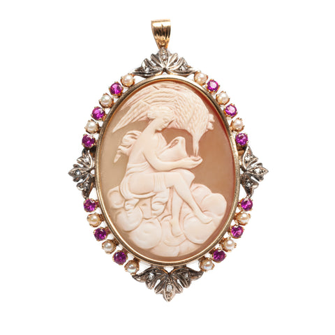 22ct Gold Cameo Brooch/Pendant Diamond Sapphire & Pearl Leda & The Swan (Code A456)