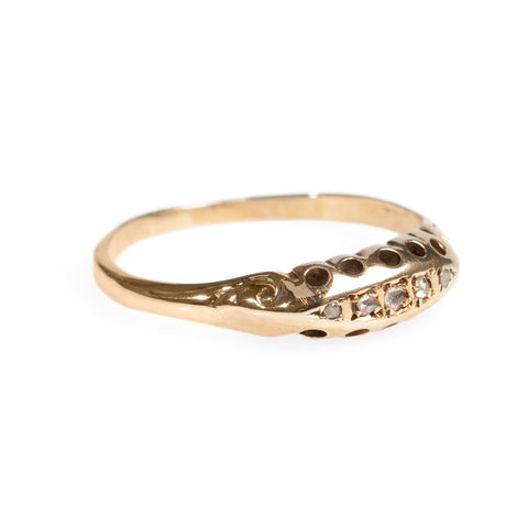 Antique 18ct Gold & Diamond Ring Victorian Boat Shape Mine Cut Stones c.1880  (Code A461)