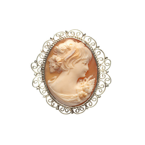 Antique Cameo Brooch In White Metal Filigree Mount Young Female Portrait (Code A468)
