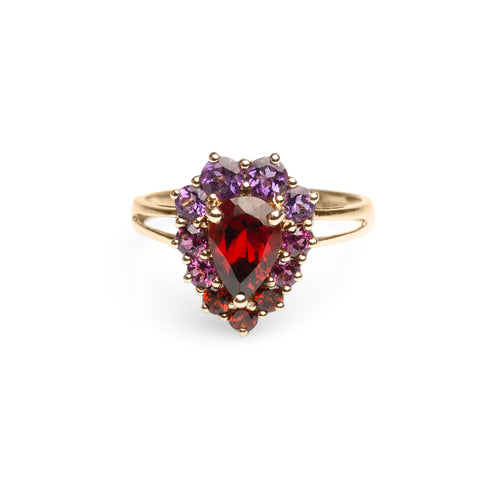 Ladies Gold Ring 9ct & Rhodolite Garnet Heart Shape Cathedral Mount Size R   (Code A475)