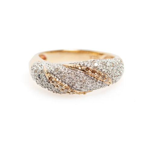 9ct Gold & Diamond Pave Set Ring With Cross Bands & Sheffield Hallmark Size N (Code A423)