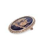 9ct Gold & Limoges Porcelain Vintage Brooch With Romantic Couple Scene  (Code A526)