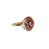 9ct Gold Cluster Statement Ring Set With Garnets Birmingham Hallmark 1970 Size N  (Code A533)