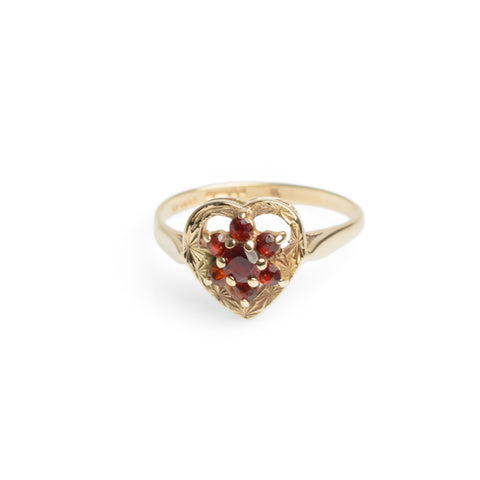 9ct Gold & Garnet Vintage Mid Century Engagement Ring With Heart Mount (Code A548)