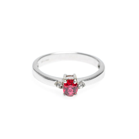 9ct White Gold Ruby & Topaz Engagement Ring Brilliant Cut Stone Size N (Code A563)