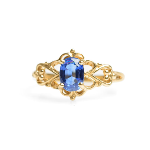 9ct Gold & 1 Carat Sapphire Ring Cornflower Blue With Heart Shaped Mount  (Code A577)