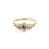 9ct Gold Promise Ring Red & Clear Cubic Zirconia Flower Design Vintage 1986  (Code A579)