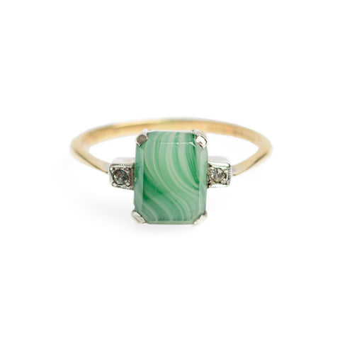 9ct Gold & Banded Green Agate Ring With Cubic Zirconia Accents Size O1/2 (Code A581)