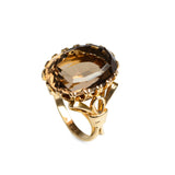 Vintage 9ct Gold & Huge 12.5 Carat Smoky Quartz Fancy Set Dress Ring Size O 1/2  (Code A583)