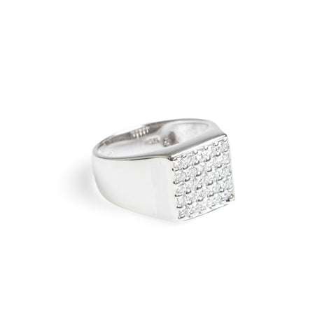 9ct White Gold Diamond Ring By Rocks & Co Square 5x5 Design Setting Size M1/2  (Code A588)