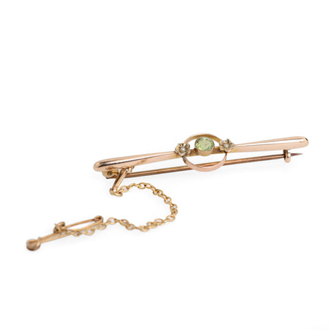 Antique 9ct Gold Art Deco Bar Brooch With Peridot & Seed Pearls  (Code A620)
