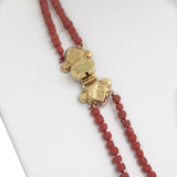 Vintage/Antique 18ct Gold & Hand Cut Red Coral Bead Double Strand Necklace  (Code A621)