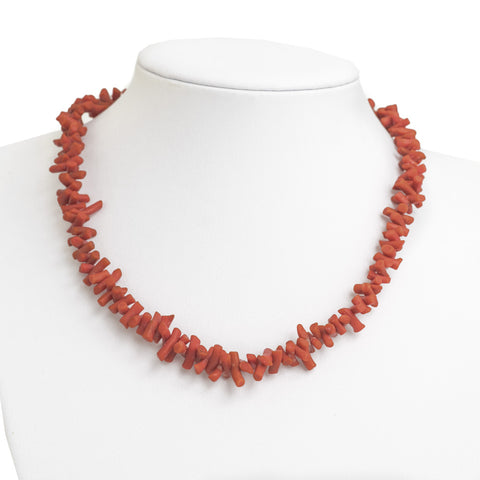 "Vintage Natural Red Coral Corallium Rubrum Branch Choker Necklace 16"" (Code A622)"
