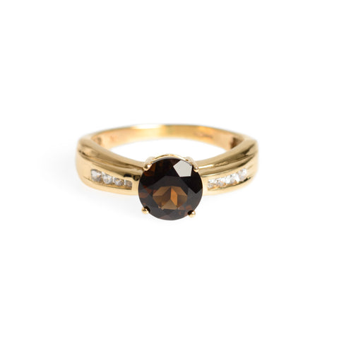 9ct Gold Smoky Quartz & White Topaz Ring Hallmarked London Assay Size M  (Code A627)