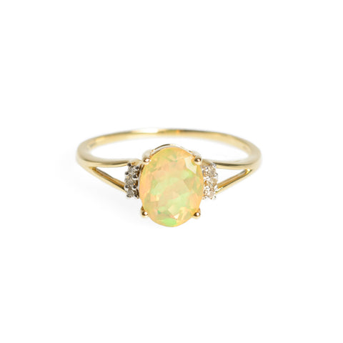 9ct Gold Facet Cut Welo Opal & Diamond Ring TGGC Hallmarked 2012 Size R   (Code A628)