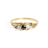 Vintage 9ct Gold Blue Spinel & Cubic Zirconia Ring Hallmarked 1988 Size Q (Code A629)