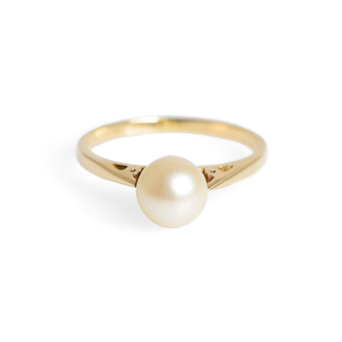 Vintage 9ct Gold & Cultured Pearl Solitaire Ring With Pierced Shoulders Size N (Code A637)