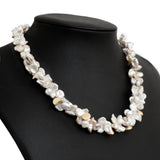 Yvel Designer 18 Carat Gold & Double Baroque Pearl Necklace With Gold Nuggets  (Code A644)