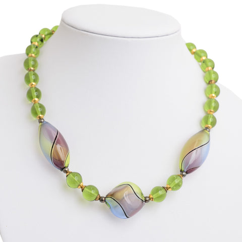 Murano Hand Blown Glass Bead Necklace By Segreti Veneziani With Box & Cert (Code A645)
