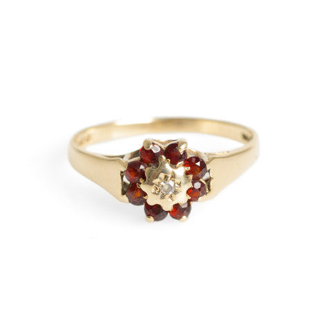 Vintage 9ct Gold Diamond & Red Glass Stones Cluster Ring Hallmarked B'ham 1981 (Code A651)