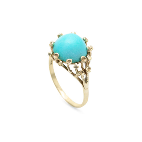 Art Deco Antique 333 Gold & Turquoise Cabochon Estate Ring Size S 1/2  (Code A656)