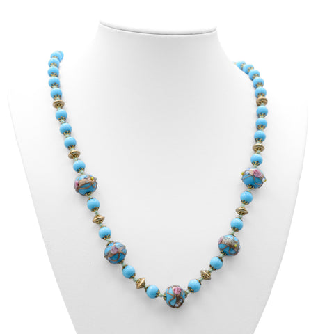 Vintage Murano Wedding Cake Glass Bead Blue Necklace With Aventurine Decoration (Code A666)