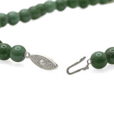 Vintage Jade Nephrite Bead Necklace Choker Type With Pretty White Metal Clasp  (Code A668)