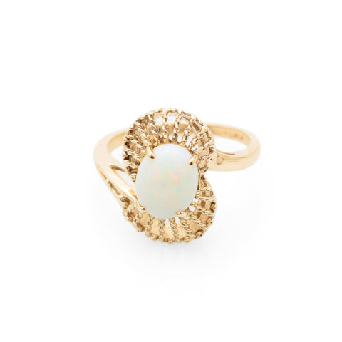 Vintage 9ct Gold Filigree & Opal Ring Birmingham Hallmark c.1950's Size M (Code A669)