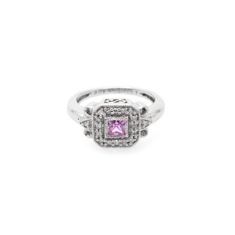 Vintage 9ct White Gold Pink Topaz & Diamonds Square Cluster Ring Size I  (Code A671)