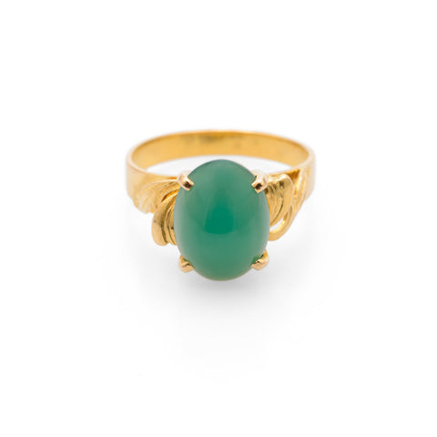 Vintage 23K Yellow Gold & Green Chrysoprase Cabochon Ring Size M1/2  (Code A680)