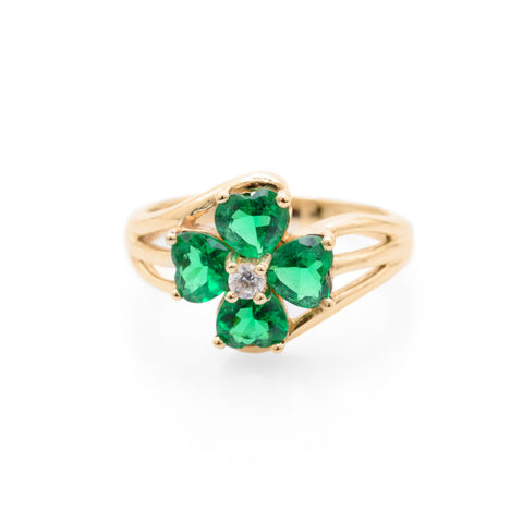 9ct Gold Four Leaf Clover/Shamrock Ring Simulated Emerald & Diamond Size N (Code A681)