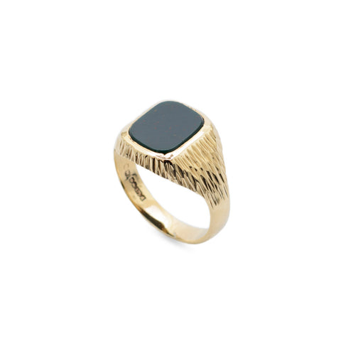 Vintage Mens 9ct Gold & Bloodstone Signet Ring With Bark Texture Sheffield 1975  (Code A684)